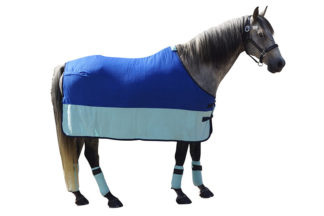 "Fleecedecke ""Stripe"" royalblau -beige 75"
