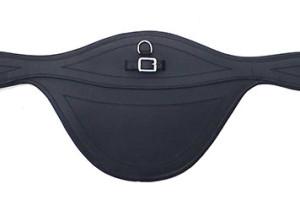 Ledersattelgurt mit Springschutz -elastic- 125cm schwarz